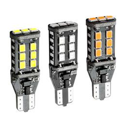 Wholesale W16w Led Bulb - 10X T15 921 W16W WY16W 15 SMD 2835 LED Auto Additional brake lights Reverse Light Car Rear Turn Signals white red amber yellow DC12V