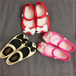Wholesale Dream Jelly - 2016 melisa Baby Shoes Jelly Shoes Sandals Bowknot Princess Dream Sweet Lovely Children Fish Mouth Infant Girls Pink Bow Peep Toe Sandal