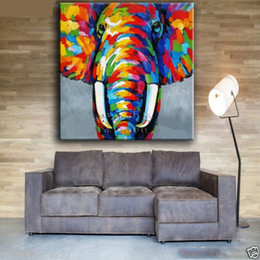 Wholesale elephant canvas painting - elephant,Pure Hand Painted Bright-coloured Asian Art Oil Painting On High Quality Canvas. customized size accepted Free Shipping,moore2012