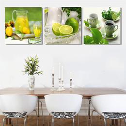 Wholesale Wall Art Triptych - Triptych lemon fruit canvas painting modern wall paintings for home decorative wall art picture paint on canvas prints CF013,no frame