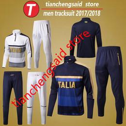 Wholesale Italian Trains - Top thai quality 2018 survetement football tracksuits suits 17 18 Italy italia soccer tracksuits uniforms set Chandal italian training kit