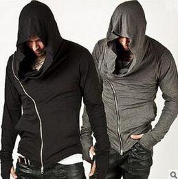 Wholesale Mens Zip Up Hoodie Black - New Stylish Unbeatable Arm Warmer Diagonal ZIP-UP Mens Assassin Creed Hoodie Fashion Design For Men Sportswear Sweatshirt hight quality fre