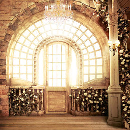 Wholesale Picture Bricks - Bright Window Crystal Chandelier Wedding Photo Picture Background Brick Wall Vintage Lantern Stone Pillar White Roses Photography Backdrops