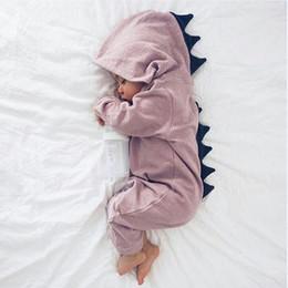 2019 dinosaurier baby mit kapuze Baby Dinosaurier Romper Langarm mit Kapuze Reißverschluss Overalls Cartoon Kinder Klettern Kleidung Baby Kleidung Top-Qualität rabatt dinosaurier baby mit kapuze