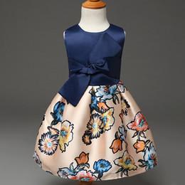 Wholesale Designer Girls Summer Clothing - Kid Dress Summer Style 2016 Girls Formal Dresses Big Bow Baby Girls Dresses Floral Print Children Clothing Designer Kids Clothes