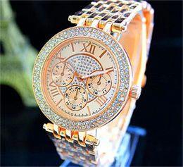 Wholesale Silver Rose Gold Watch - Women's Luxury Diamond Watch Fashion Women Rhinestone Ladies Dress michael Quartz Watches Roman Sliver Rose Gold Wristwatches Wholesale