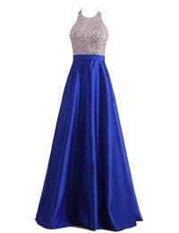 Wholesale Vestido Champagne Renda - Vestido De Noiva De Renda 2016 Free Shipping Halter Heavy Beaded Royal Blue Satin Evening Dresses