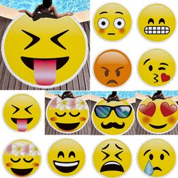 Wholesale Large Beach Mats Wholesale - Microfiber Emoji Beach Towel Round Large Beach Blanket Shawl Yoga Mat with Tassel Swimming Cover 14 design KKA2756