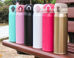 Wholesale Blue Hot Water Bottle - hot Sport Beer Cups 500ml 17oz Cola Shaped Bottle Insulated Double Wall Vacuum High-luminance Water Bottle Portable Cup Travel Mugs A106