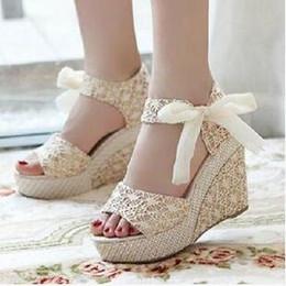 Wholesale High Heels Black Bow - Fashion Women Sandals Summer Wedges Women's Sandals Platform Lace Belt Bow Flip Flops open toe high-heeled Women shoes Female