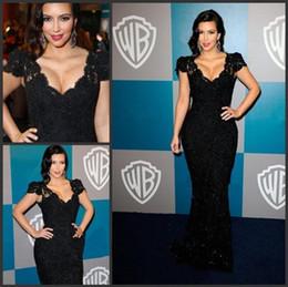 Wholesale Kim Kardashian V Neck Dress - 2017 high quality black Kim Kardashian Awards Cap Sleeves V Neck Lace Mermaid Celebrity evening prom Dresses