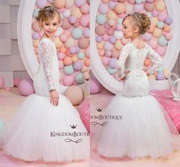 Wholesale Mermaid Style Flower Girls Dress - New Style Mermaid Flower Girls Dresses for Wedding White Tulle Lace Long Sleeves Little Girls Pageant Dress Beads First Communion Dresses