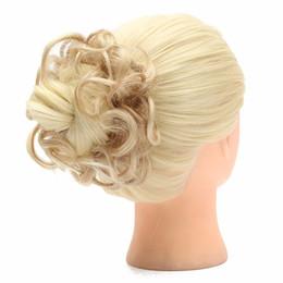 2020 großhandel natürliches haar hairpiece Großhandels-1PC Brötchen-Haarteil-Updo-Braut-Brötchen-natürliches elastisches Haarteil-wellenförmiges unordentliches Multifuctional synthetisches gelocktes Haar-Chignon günstig großhandel natürliches haar hairpiece