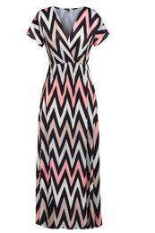 Wholesale Strapless Empire Waist Dresses - Sexy Women Maxi Long Dress Lady V Neck High Waist Short Sleeve Summer Wavy Stripe Casual Beach Party Full Length Dress
