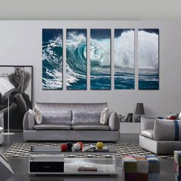 Wholesale Ocean Painting Piece - 5 Piece Canvas Paintings Wave Seascape Print on Canvas Roaring Wave Painting Canvas Ocean Wall Art Paintings Home Decor