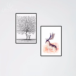 Wholesale Cute Picture Frames - Animals Cute Deer Elk Canvas Painting Modern Abstract Oil Print Art For Living Room Canvas Wall Picture Home Decor No Frame 2pcs