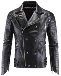 Wholesale Mens Pu Jackets - Leather Jacket Men Turn-down Collar Jaqueta De Couro Masculina PU Mens Leather Jackets Skull Punk Veste Cuir Homme