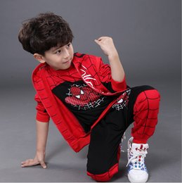 Wholesale Kids Shirts Spider - Spiderman Children Boys Clothing set Baby Boy Spider man Sports Suits Kids 3pcs Sets(Vest+T shirt+pants)Autumn Sportswear Clothes Tracksuits