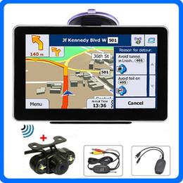 Wholesale Holding Camera - 5 inch Car GPS Navigator Bluetooth FM CPU 800MHZ 8GB 3D IGO Maps AVIN LEDS IR Wireless Rearview Camera GPS Navigation