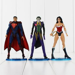 Wholesale Wonder Woman Figure - Marvel Heroes Super Man Wonder Woman The Joker PVC Action Figure Toy Collection Model toy for kids toy free shipping retail