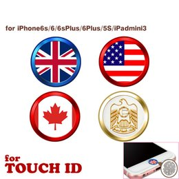Wholesale Metal Aluminium Home Button - National Flag Home Button Sticker Aluminium Metal Key Portector Ring Sticker Touch ID for Apple iPhone iPad with retail package