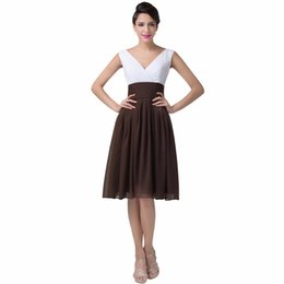 Wholesale Coffee Color Dresses - Short Cocktail Dresses simple style coffee color 2016 New Arrival Vestido Knee-Length V-neck Mixed colors prom formal Dresses
