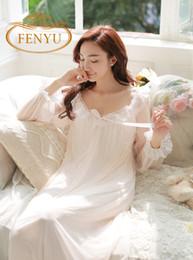 Wholesale Princess Pyjamas - Wholesale-Free Shipping 2016 New Summer Princess Nightdress Royal Pyjamas Women's Long Nightgown Lace Sleepwear Modal Nightshirt