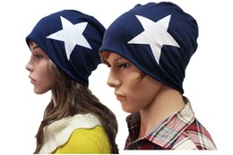 Wholesale Thin Beanie Wholesale - Wholesale-2016 New fashion cotton hat Five-pointed star Male and Female knit hat Popular thin All-match caps Skullies Beanies