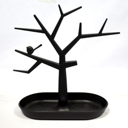 Wholesale Earring Displays Stands Holder - 2 PCS Black Jewelry Necklace Ring Earrings Bird Tree Stand Display Organizer Holder