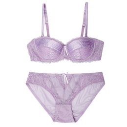 Wholesale Silk Brassiere - 1 2 cotton thin cup silk ladies brassiere and panties French high-end women lingerie plus size lace sexy push up women bra sets