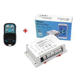 Wholesale Interlocking Switches - Sonoff 4CH Pro 4Gang 10A RF WIFI Smart Switch Inching Self-locking Interlock Wireless Power Light Module with 433MHz Remote Control