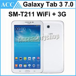 Wholesale Tablet 8gb 3g - Refurbished Original Samsung Galaxy Tab 3 SM-T211 7.0 inch WIFI + 3G 1GB RAM 8GB ROM 3.0MP Camera White Color Unlocked Tablet DHL 5pcs