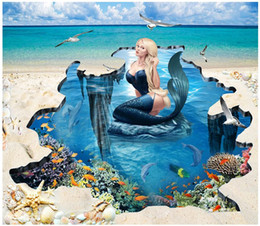 wall stickers mermaids Promo Codes - 3d pvc flooring custom photo Waterproof floor wall sticker Beach mermaid by the sea home decor 3d wall murals wallpaper for living room