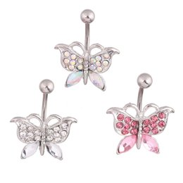 Wholesale Belly Button Ring 14g Surgical - Belly button ring Bow fashion body piercing jewelry wholesales navel ring 14G 316L surgical steel bar Nickel-free