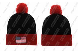 Wholesale Custom Winter Beanies - American Flag USA Beanie With pom pom Beanies Hip Hop Snapback Hats Custom Knitted Cap Snapbacks Popular hat cap Mix Order