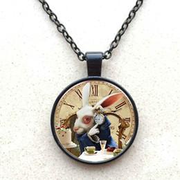 Wholesale American Alice - New Fashion Alice In Wonderland Necklace White Rabbit Art Picture Glass Pendant Cute Rabbit Chain Necklace Women Jewelry