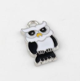 Wholesale Enamel Owl - Hot ! 100pcs White & Black Enamel Cute owl Charm Pendant DIY Jewelry 14.5 X 24MM
