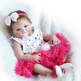 Wholesale Anatomically Correct Girl Doll - 22 inch Victoria ANATOMICALLY CORRECT Full Vinyl Body Girl Reborn Doll Girls Christmas Gift Play Dolls Toy with Bow