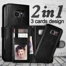 Wholesale Card Notes - For Galaxy Note 8 S8 S9 2in1 Magnetic Detachable Removable Wallet leather Case Cover Cards Holder for Samsung plus S5 S6 S7 edge
