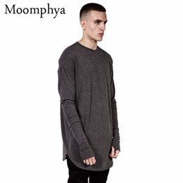 Wholesale T Cuff - Wholesale-Long style Mens Tops T Shirt full Sleeve T-Shirt With Thumb Hole Cuffs T Shirt High Street Wear Shirt Curved Hem swag t shirt