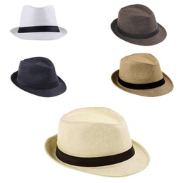 Wholesale Good Sun Hats For Men - Wholesale- Good Quality Wide Brim Sun Hats For Women Men Jazz Caps Panama Fedoras Unisex Top Beach Visor Hat Straw Cap Brief Solid