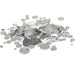 Wholesale Crystal Clear Nail Acrylic - Mixed Sizes Clear Crystal Color Round Acrylic Loose Non Hotfix Flatback Rhinestones Nail Art Crystal Stones For Wedding Clothing Decorations