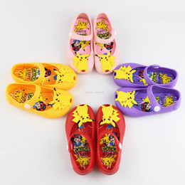 Wholesale Shoes Girls 29 - New poke Children Sandals jelly princess shoes PVC Soft bottom baby pikachu shoes 24-29 free shipping C1436