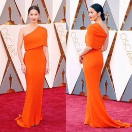 Wholesale Celebrity Party Outfits - One Shoulder Oscar 88th Red Carpet Celebrity Dresses Olivia Munn Fashion Orange Evening Gown Chiffon Sheath Formal Outfits Party Dresses