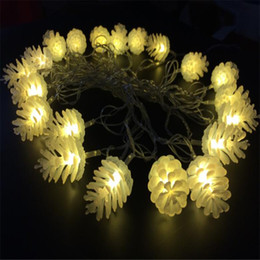 Wholesale Led Garlands Christmas - Christmas 5M 20led Colorful Modeling LED String Pinecone Flashing Christmas Lights Garlands for Holiday Party Wedding halloween Decoration