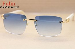 Wholesale Top Frameless Glasses - Brand Sunglassses-Top Quality Rimless T8300816 White Genuine horn Sunglasses New Sun Glasses men Luxury Vintage Size: 54-18-140mm