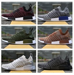 Wholesale Golf Shoes For Women - 2018 Adidas Originals NMD Runner R1 STLT Chukka Primeknit Design For Men Women Running Shoes Fashion Mesh Breathable Sneaker 36-45 With Box