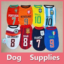Wholesale Football Pets - NEW Puppy Pet Dog Vest Small Dog summer clothes T-shirt apparel costume Sport Football shirt With Nomber
