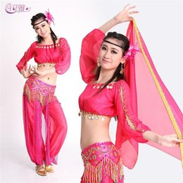 Wholesale Coin Top Belly Dance Costumes - Women Dance Costumes Bead Belt Coin Top Indian Dancing Dress Belly Dance Costumes for Sale 4 Colors, Pant+Belt+Top from Factory
