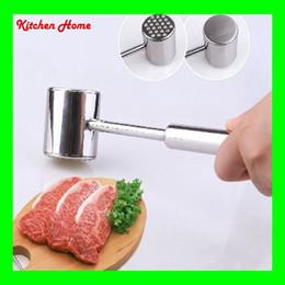 Cabezas de martillo online-Batidor de martillo de mazo de carne de acero inoxidable 304 Suavizadores con 2 lados Cabeza Pollo Carne de res Filete Martillo Trituradores Carne Pountry Tools